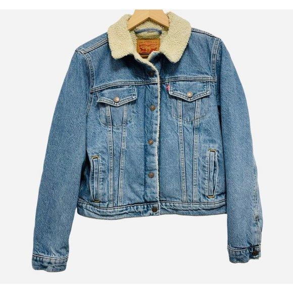 Levi's Sherpa Lined Jean Denim Jacket Light Wash L